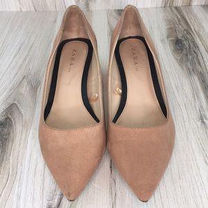 Zara Blush Pointy Toe Block Heels